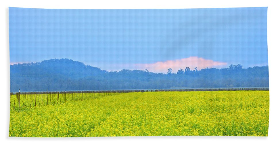 Mustard Hand Towel featuring the photograph Pink Cloud Over The Mustard Fields by Tom Reynen