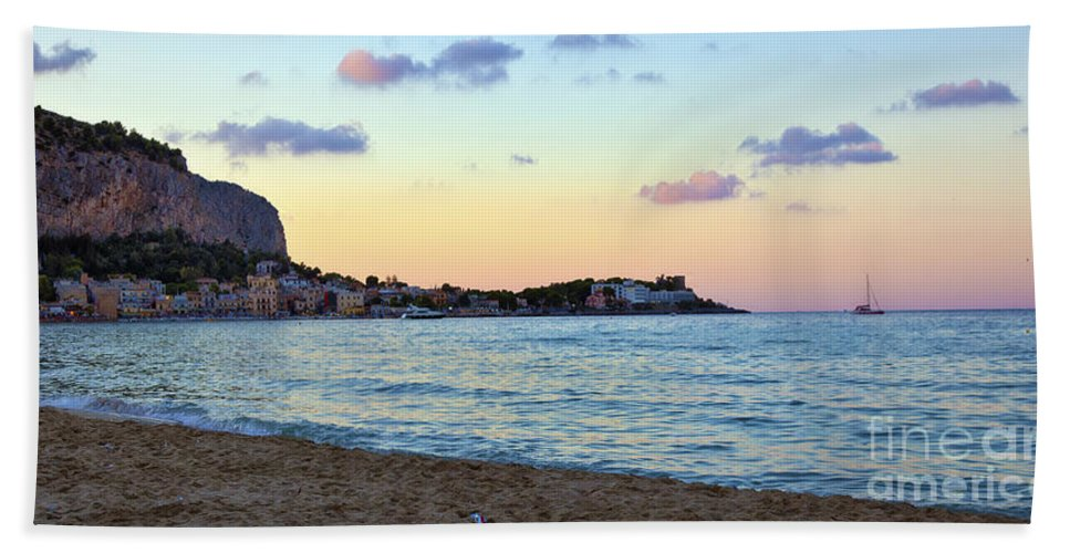 Mediterranean Hand Towel featuring the photograph Pink Clouds Over Sicily by Madeline Ellis