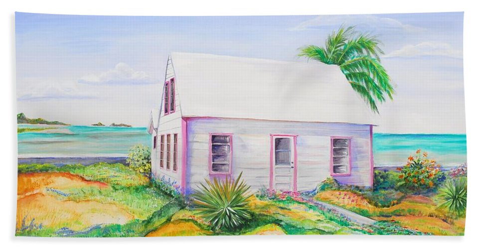 Seaside Cottage Bath Sheet featuring the painting Pink Cottage by Patricia Piffath
