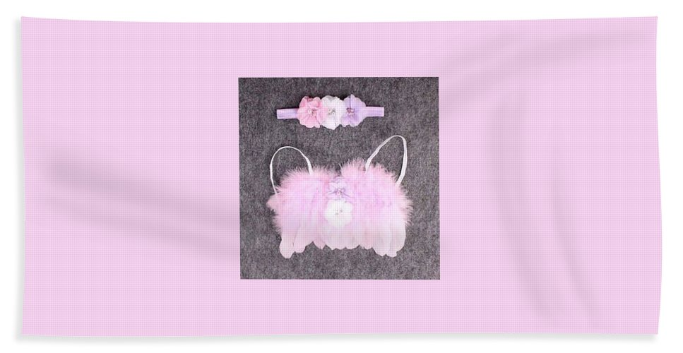 Angel Wings Bath Sheet featuring the photograph Pink Feather Angel Wings With White-violet Flowers And Headband by Newborn Propsz