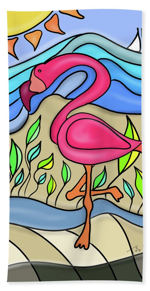 Pink Flamingo Hand Towel featuring the digital art Pink Flamingo Glassy by Tab O'Neal