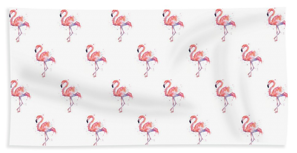 Pink Hand Towel featuring the painting Pink Flamingo Watercolor Pattern by Olga Shvartsur