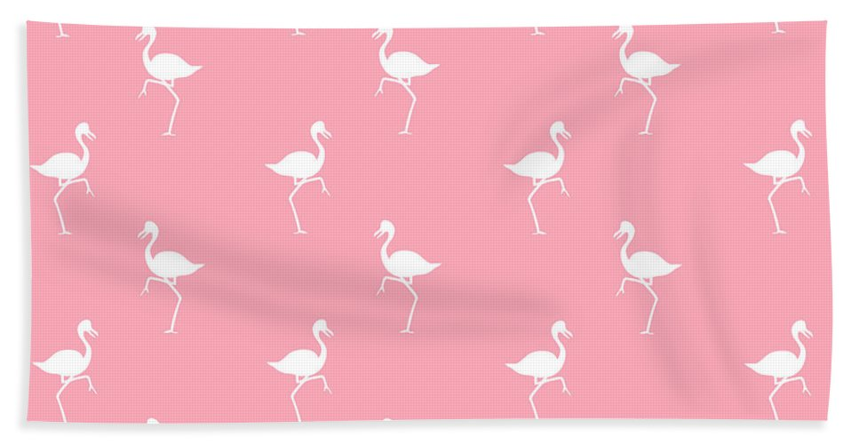 Flamingo Bath Towel featuring the mixed media Pink Flamingos Pattern by Christina Rollo