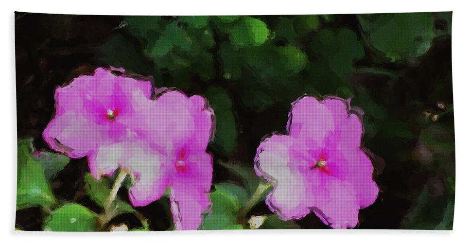 Digital Photograph Hand Towel featuring the photograph Pink Floral Watercolor by David Lane