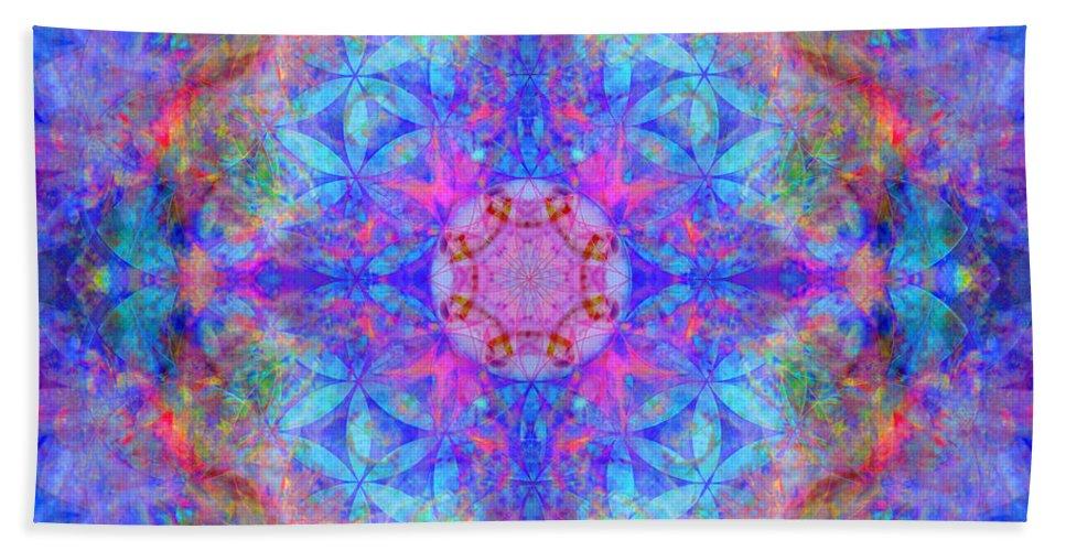 Flower Of Life Hand Towel featuring the digital art Pink Flower Of Life Mandala by Susan Bloom