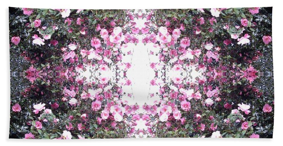 Pink Bath Sheet featuring the photograph Pink Flower Sky Window by Julia Woodman