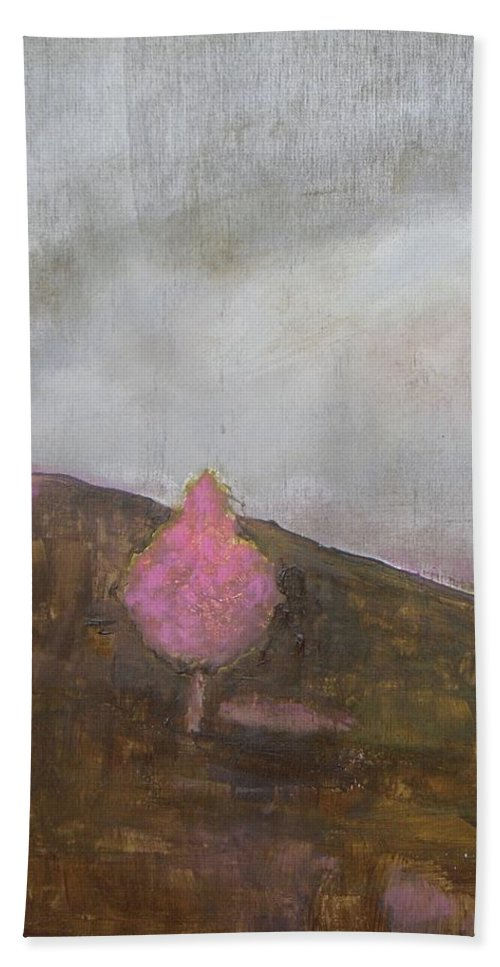 Landscape Bath Sheet featuring the painting Pink Flowering Tree by Vesna Antic