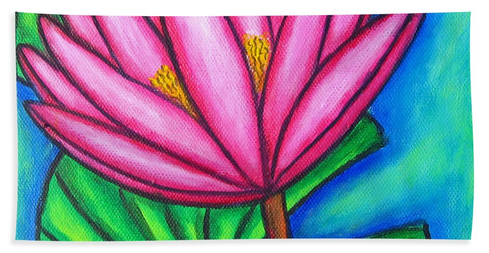 Water Lilies Bath Sheet featuring the painting Pink Gem 1 by Lisa Lorenz