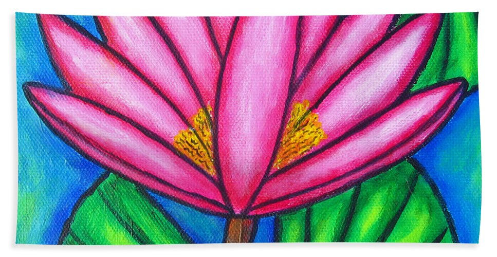 Water Lilies Bath Sheet featuring the painting Pink Gem 3 by Lisa Lorenz