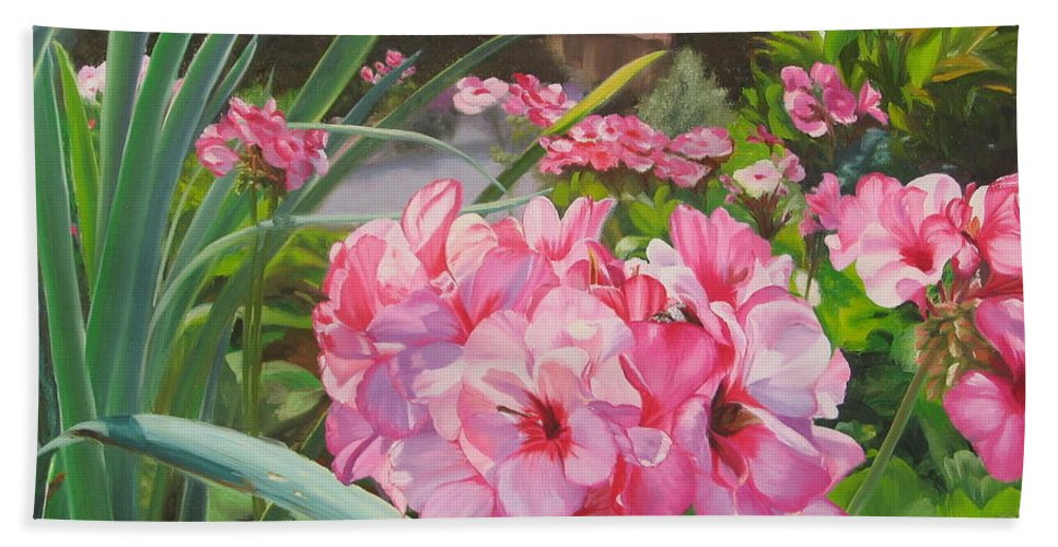 Pink Geraniums Hand Towel featuring the painting Pink Geraniums by Lea Novak