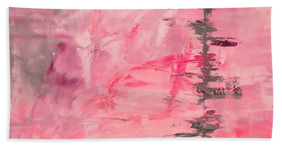 Pink Bath Sheet featuring the painting Pink Gray Abstract by Voros Edit