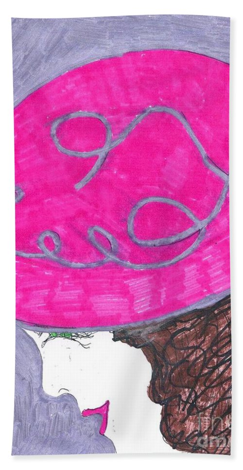 Pink Hat On A Brown Haired Lady. Hand Towel featuring the mixed media Pink Hat by Elinor Helen Rakowski