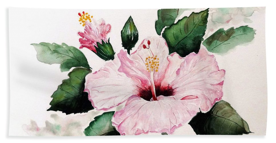 Hibiscus Painting  Floral Painting Flower Pink Hibiscus Tropical Bloom Caribbean Painting Hand Towel featuring the painting Pink Hibiscus by Karin Dawn Kelshall- Best