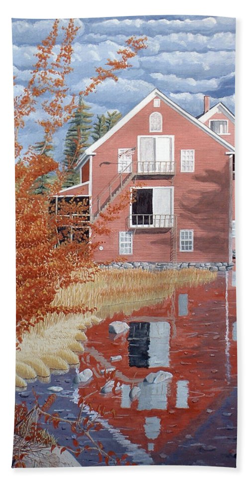 Autumn Bath Towel featuring the painting Pink House In Autumn by Dominic White