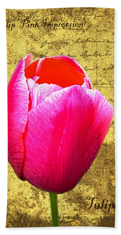Pink Hand Towel featuring the digital art Pink Impression Tulip by Teresa Mucha