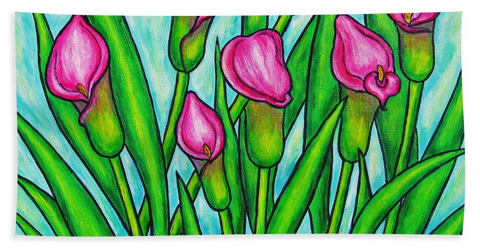 Lisa Lorenz Bath Towel featuring the painting Pink Ladies by Lisa Lorenz