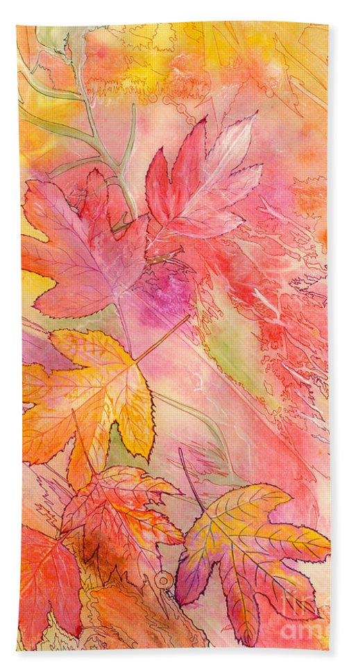 Tree Leaves Hand Towel featuring the painting Pink Leaves by Nancy Cupp