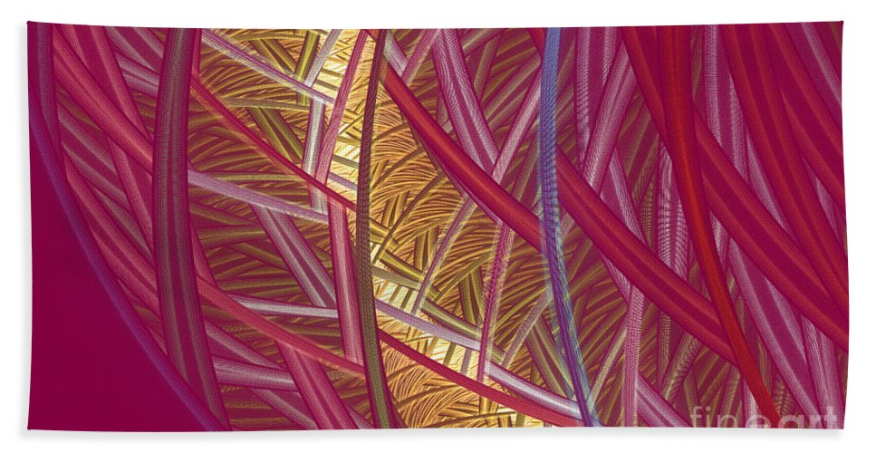 Fractal Bath Towel featuring the mixed media Pink Lines by Deborah Benoit