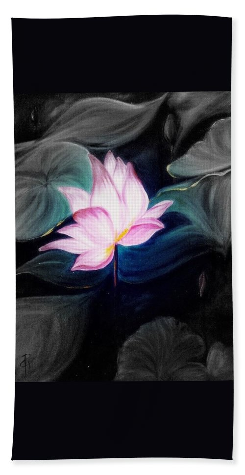 Lotus Hand Towel featuring the painting Pink Lotus by Dina Holland