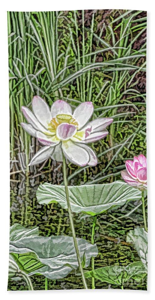 Pink Lotus Between Green Lotus Leaf Hand Towel featuring the painting Pink Lotus by Jeelan Clark