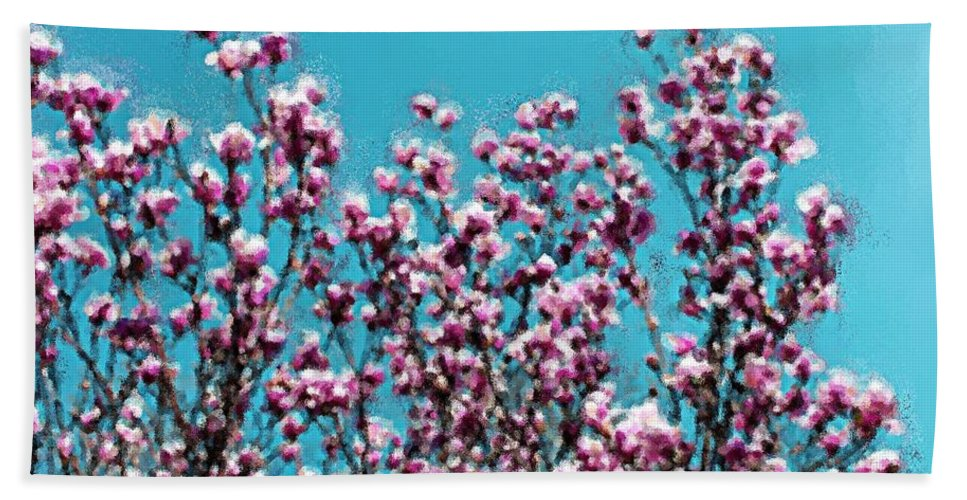 Flower Bath Sheet featuring the painting Pink Magnolia Splendor by Smilin Eyes Treasures