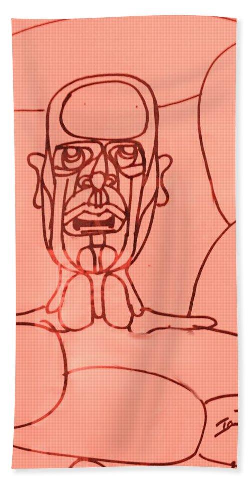 Man Hand Towel featuring the drawing Pink Man by Ian MacDonald