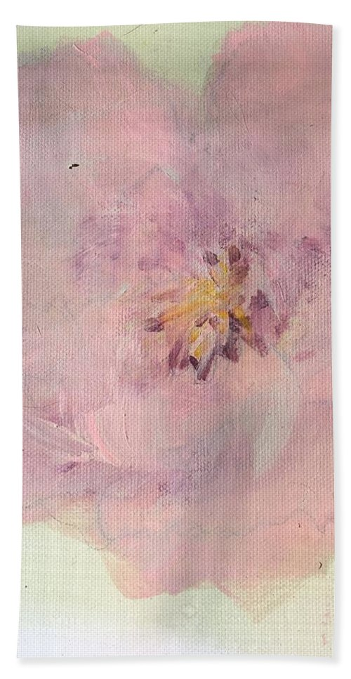 Pink Hand Towel featuring the painting Pink by Mary Jo Hopton