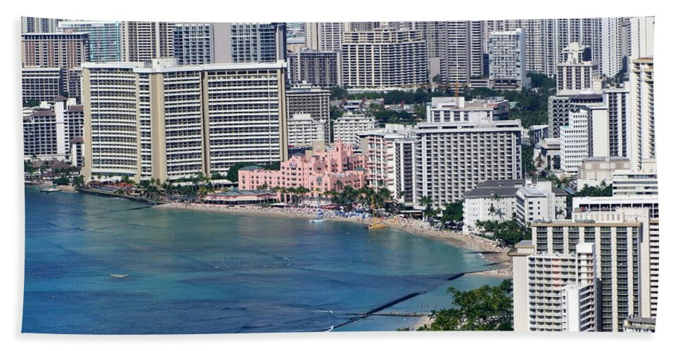 Pink Hand Towel featuring the photograph Pink Palace Waikiki Honolulu by Mary Deal