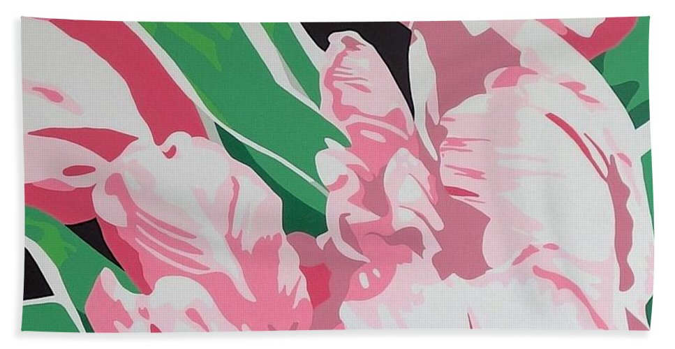 Acrylc Painting Hand Towel featuring the painting Pink Parrots by Susan Porter