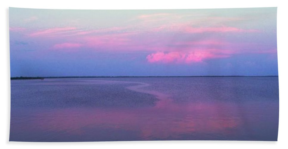 Sunset Bath Towel featuring the photograph Pink Path by Ian MacDonald
