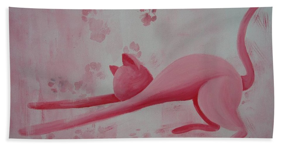 Pink Pause Hand Towel featuring the painting Pink Pause by Catt Kyriacou