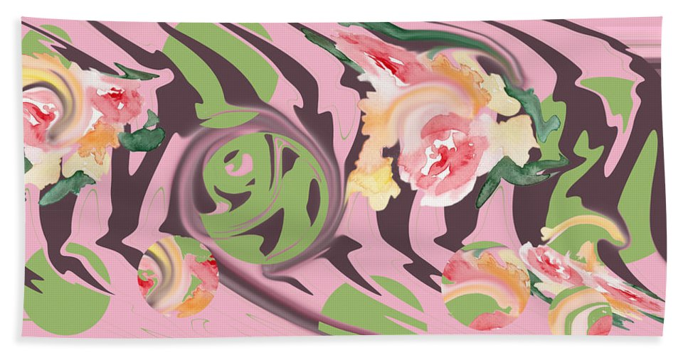 Pink Hand Towel featuring the digital art Pink Peonies by Rhonda Chase