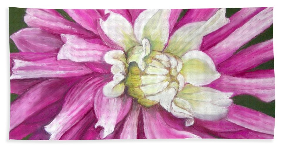 Floral Hand Towel featuring the painting Pink Petal Blast by Minaz Jantz