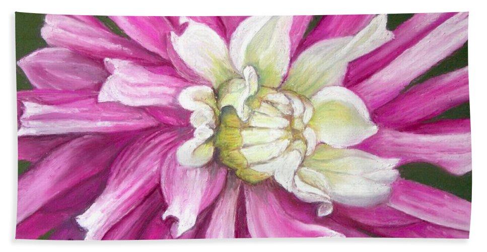 Floral Bath Towel featuring the painting Pink Petal Blast by Minaz Jantz