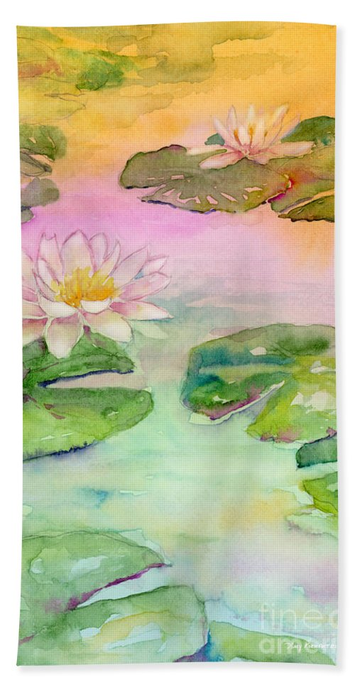 Lotus Blossom Bath Sheet featuring the painting Pink Pond by Amy Kirkpatrick