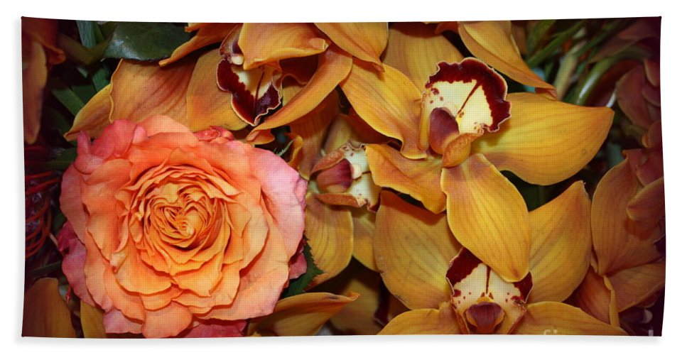 Rose Hand Towel featuring the photograph Pink Rose And Yellow Orchids by Dora Sofia Caputo Photographic Design and Fine Art