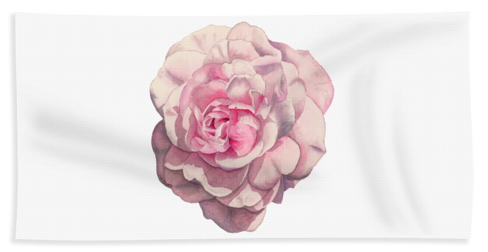 Botanical Bath Sheet featuring the painting Pink Rose by NamiBear