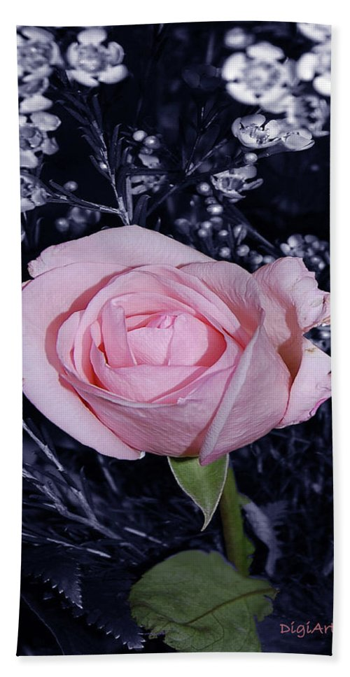 Rose Hand Towel featuring the digital art Pink Rose Of Imperfection by DigiArt Diaries by Vicky B Fuller