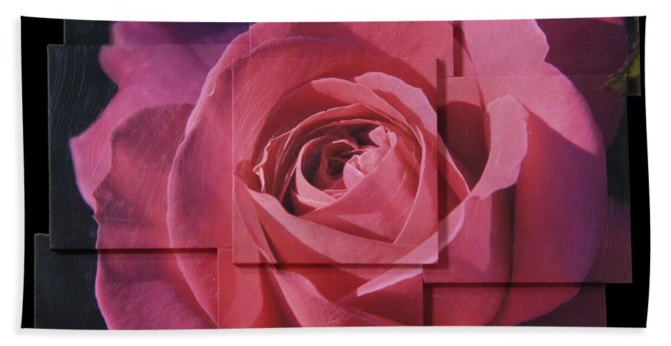 Rose Hand Towel featuring the sculpture Pink Rose Photo Sculpture by Michael Bessler