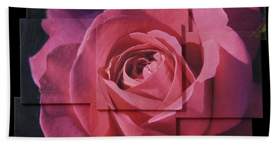 Rose Bath Sheet featuring the sculpture Pink Rose Photo Sculpture by Michael Bessler