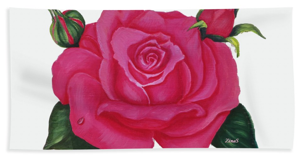 Rose Art Hand Towel featuring the painting Pink Rose by Zina Stromberg