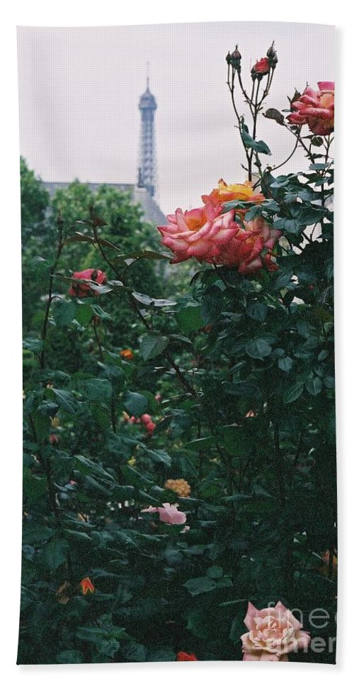 Roses Bath Towel featuring the photograph Pink Roses And The Eiffel Tower by Nadine Rippelmeyer