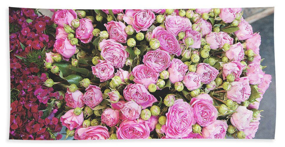 Photography; Ivy Ho; Angsanaseeds; Photograph; Travel; Europe; European; France; Continental; Paris; Wanderlust; City Of Lights; Flowers; Fleur; Roses; Queen Ann's Lace; Bloom; Blooming; Floral; Flora; Pink; Fuschia; Green; Yellow; Forget-me-not; Fairy Dust; Summer Hand Towel featuring the photograph Pink Roses Photograph by Ivy Ho