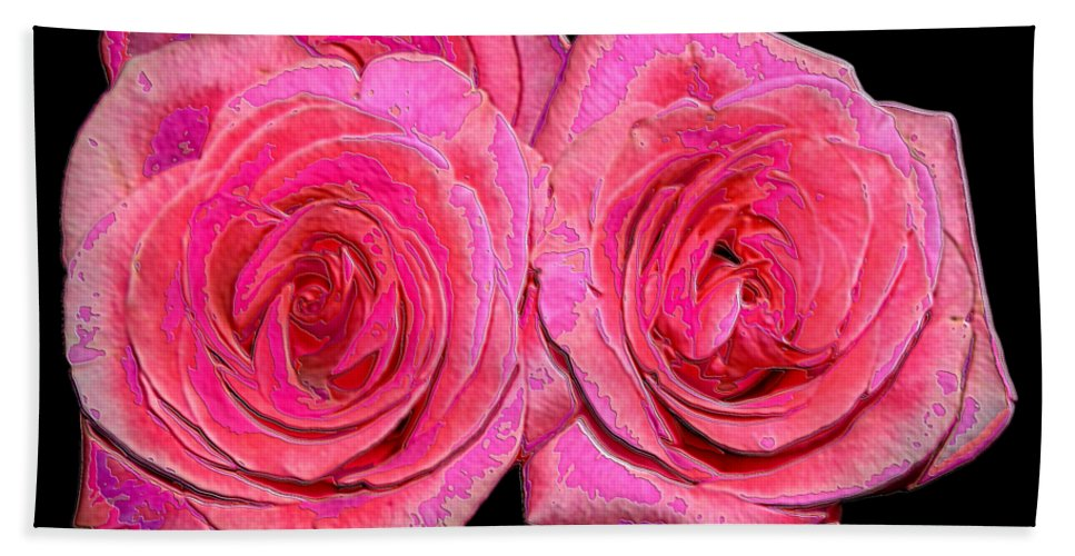 Two Pink Roses Bath Sheet featuring the photograph Pink Roses With Enameled Effects by Rose Santuci-Sofranko