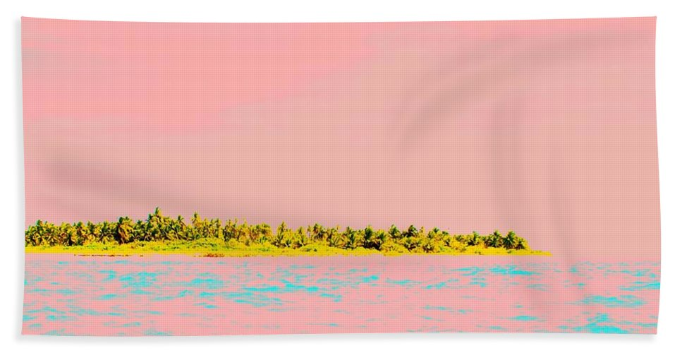 Orange Hand Towel featuring the photograph Pink Sky Island by Lord Frederick Lyle Morris - Disabled Veteran