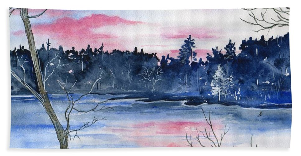 Watercolor Hand Towel featuring the painting Pink Sky Reflections by Brenda Owen