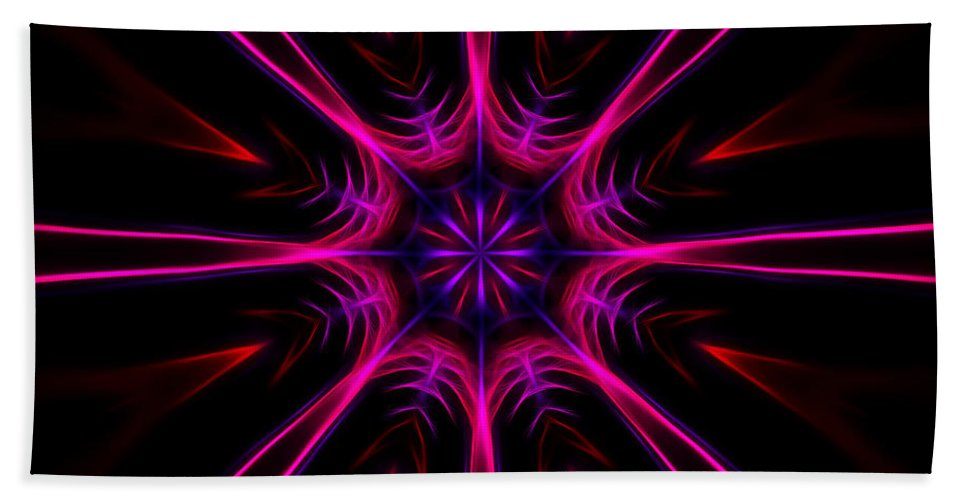 Fractal Bath Sheet featuring the digital art Pink Starburst Fractal by Tracey Everington