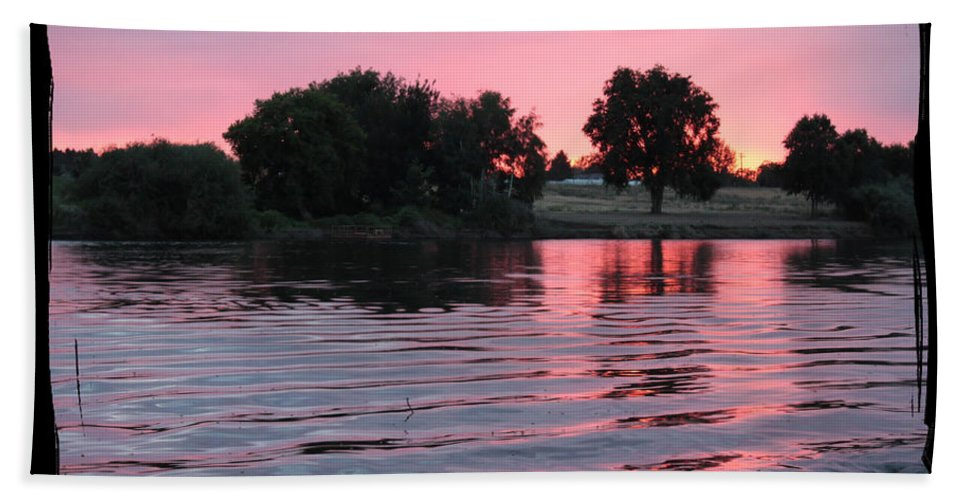 Pink Sunset Bath Sheet featuring the photograph Pink Sunset With Soft Waves In Black Framing by Carol Groenen