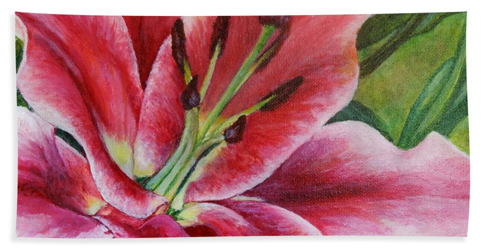 Pink Bath Sheet featuring the painting Pink Tiger Lily by Jodi Higgins
