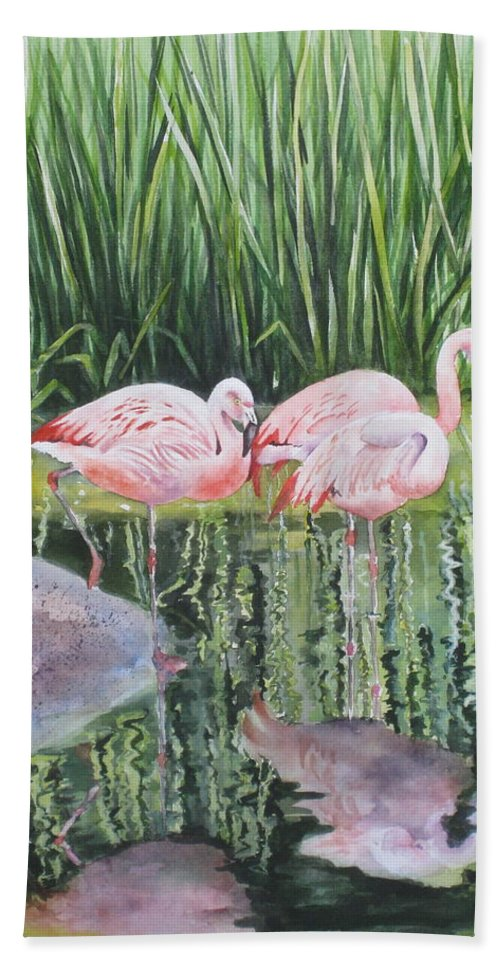 Flamingos Hand Towel featuring the painting Pink Trio by Mary McCullah